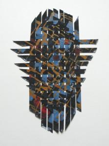 tissé afrique, pigments et liant sur papier découpé 36x25-encadré 50x60cm